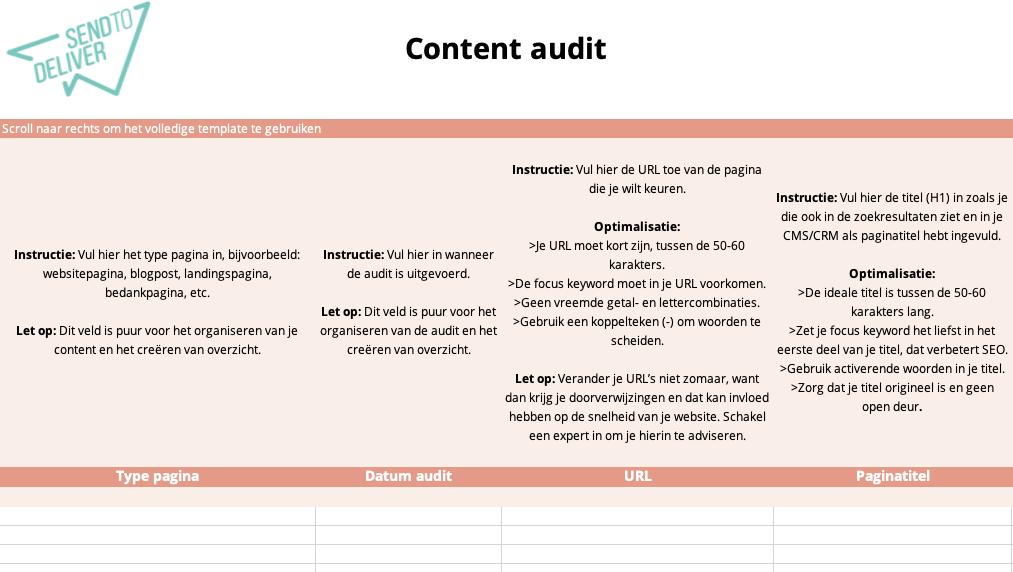 Content audit - sheet 1